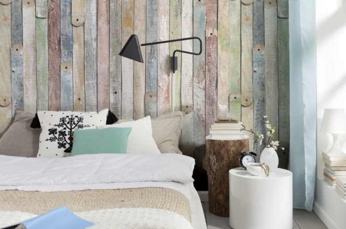 chambre à coucher vintage papier peint imitation bois