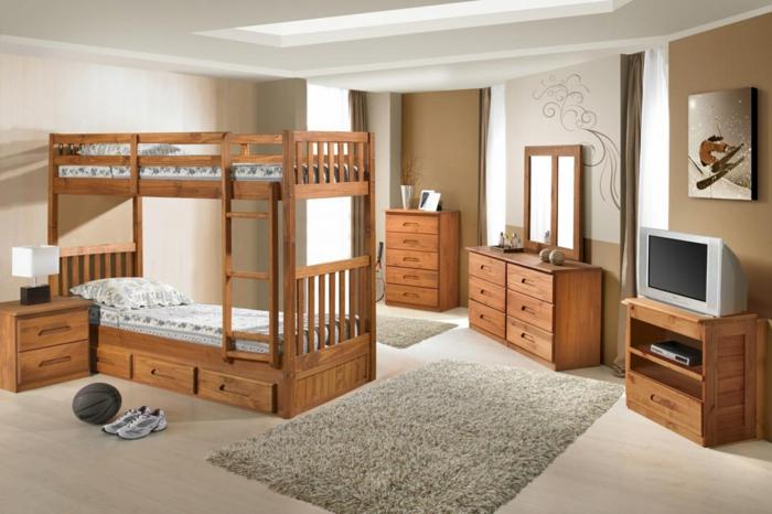 chambre enfant meubles en bois lit superposé