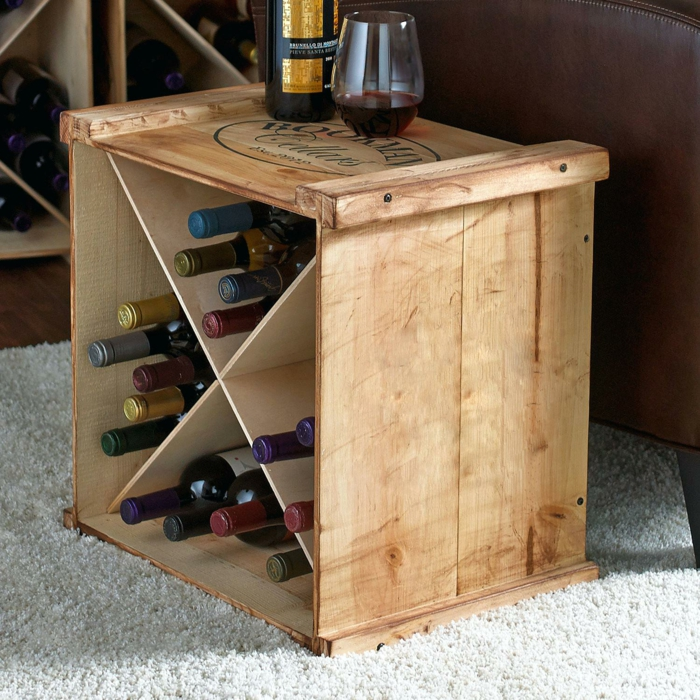 déco maison avec une caisse de vin