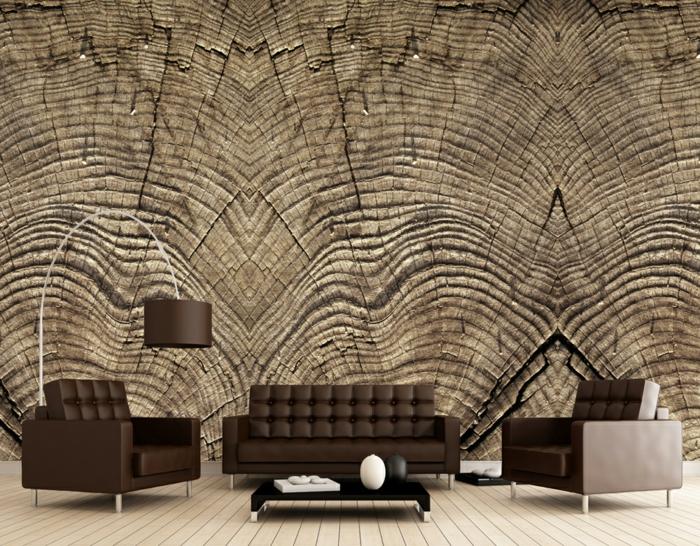 décoration murale papier peint imitation bois