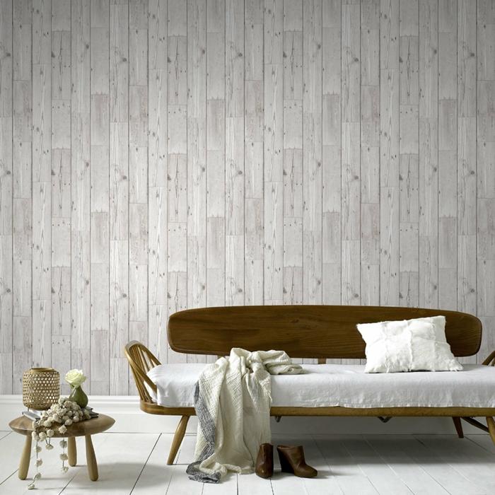 design intérieur papier peint imitation bois