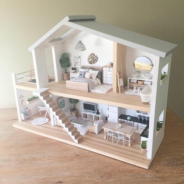 diy maison de poupée en bois meubles balcon
