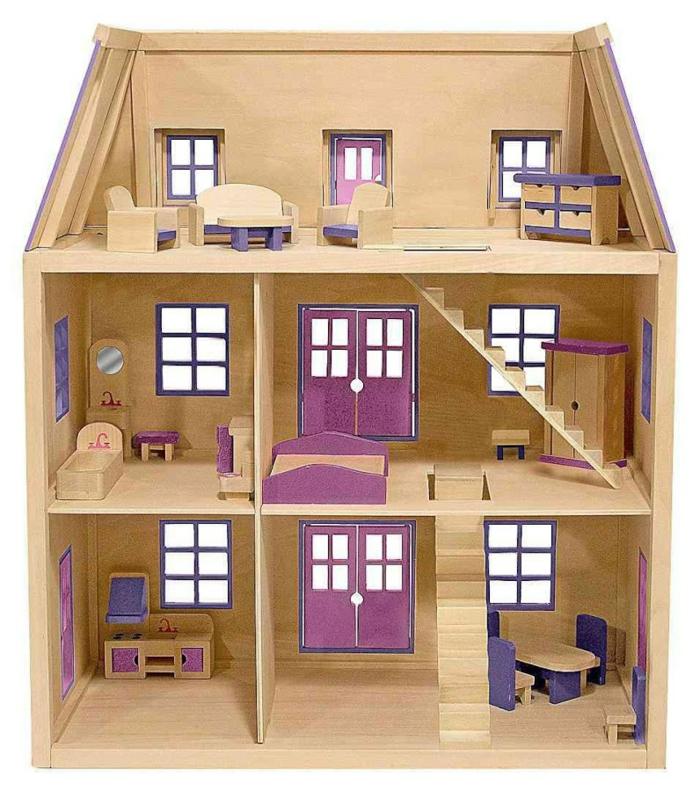 diy maison de poupée en bois trois étages cinq pièces