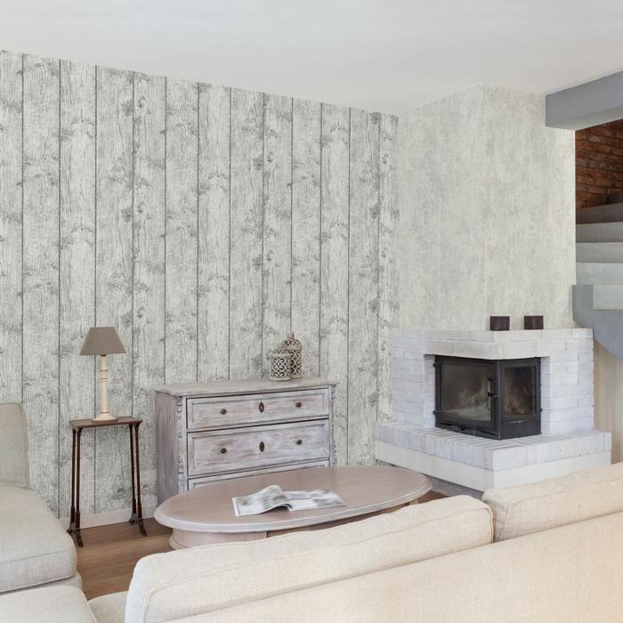 effet décoratif papier peint imitation bois