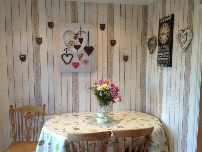idée cuisine shabby chic mur papier peint imitation bois