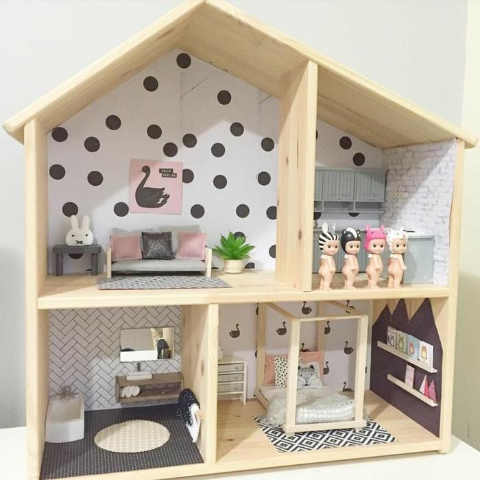 idée de modèle maison de poupée en bois sans façade