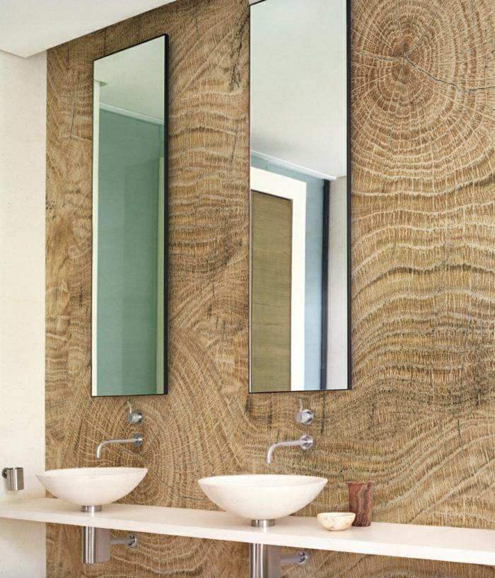 idée salle de bains papier peint imitation bois