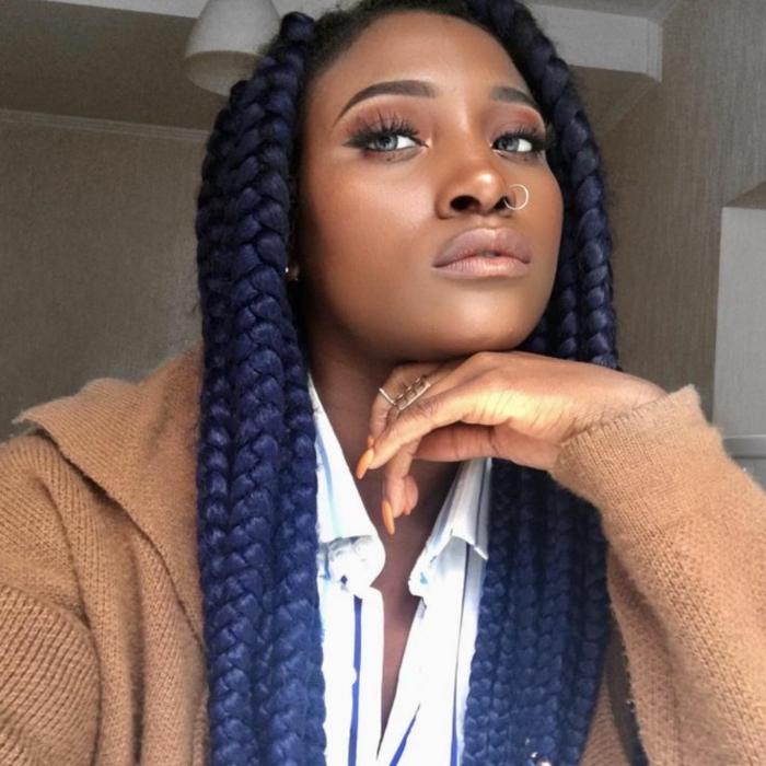 idée tresse africaine cheveux colorés