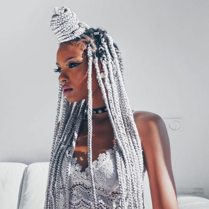 idée tresse africaine cheveux longs yarn braids