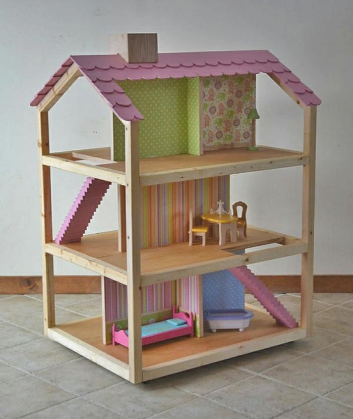 maison de poupée en bois avec escalier diy