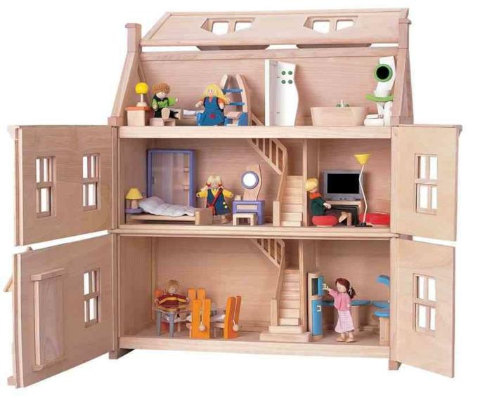 maison de poupée en bois fenêtres escalier