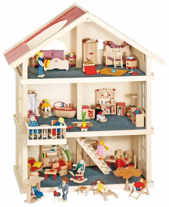 maison de poupée en bois meubles et petites figurines