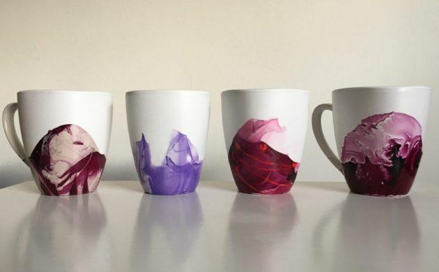 vernis à ongles décoration de mugs