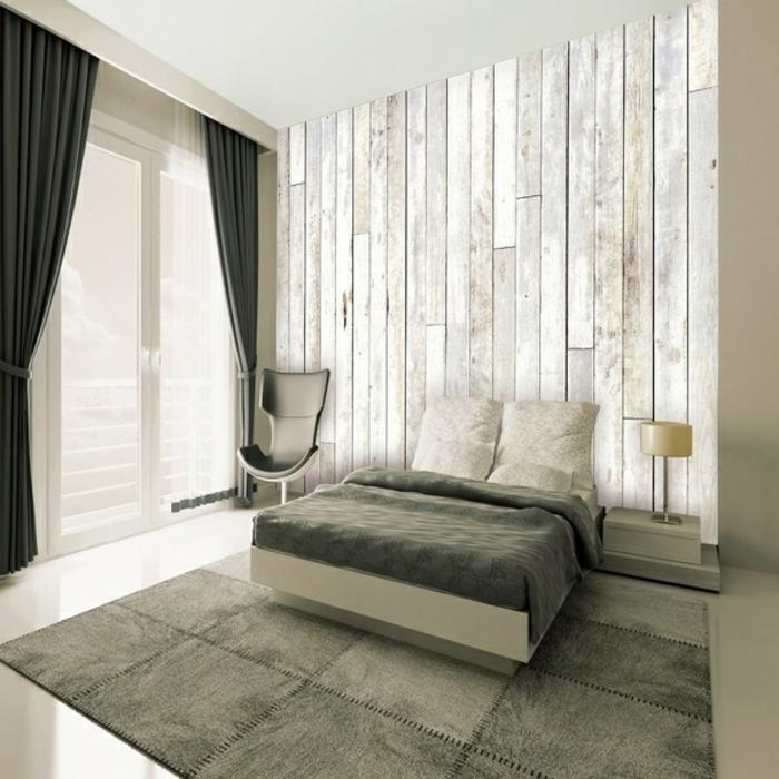 papier peint imitation bois chambre à coucher