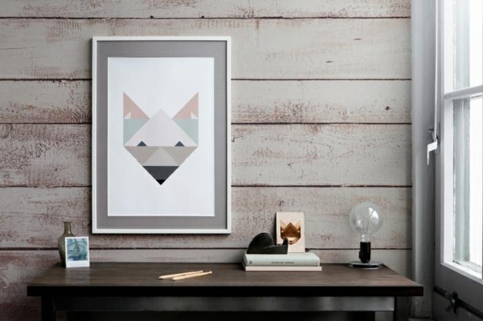 papier peint imitation bois coin de travail