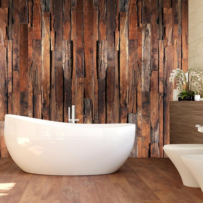 papier peint imitation bois dans la salle de bains