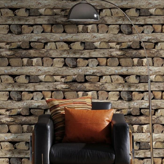 papier peint imitation bois mur fauteuil en cuir