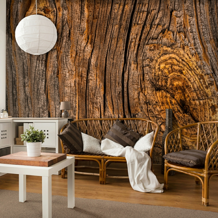 papier peint imitation bois salon meubles en rotin