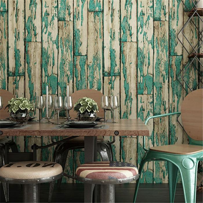 papier peint imitation bois vert