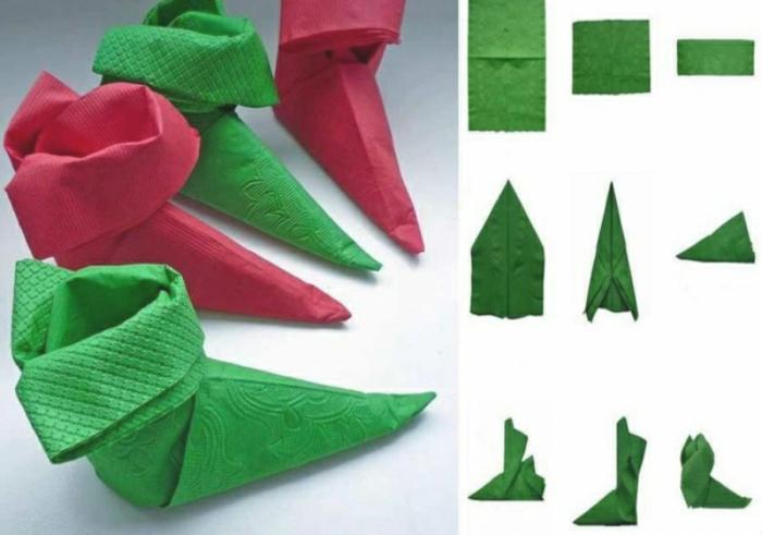 pliage de serviette pour noël botte de nain