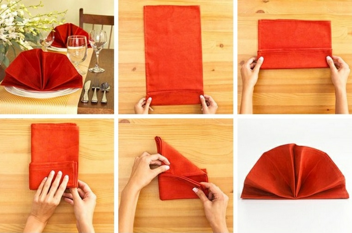 pliage de serviette pour noël fleur en serviette de tissu
