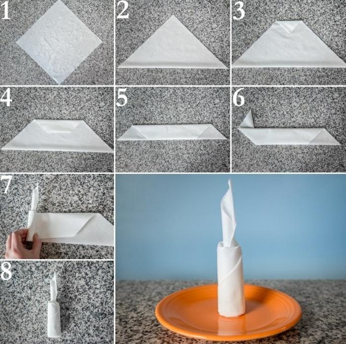 pliage de serviette pour noël forme de bougie