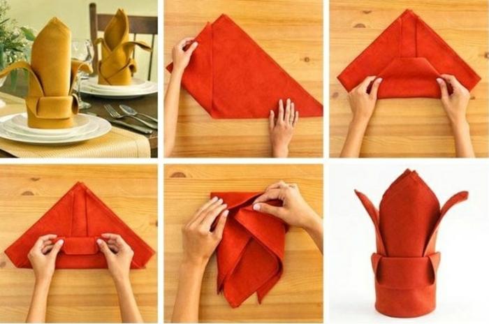 pliage de serviette pour noël forme de fleur