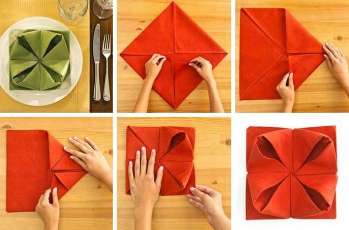 pliage de serviette pour noël modèle de fleur