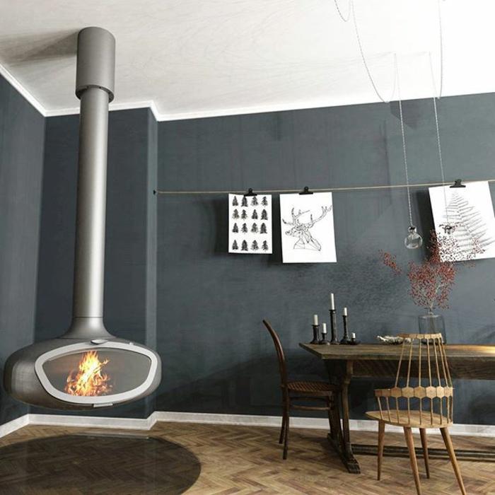 poêle à bois suspendu couleur gris