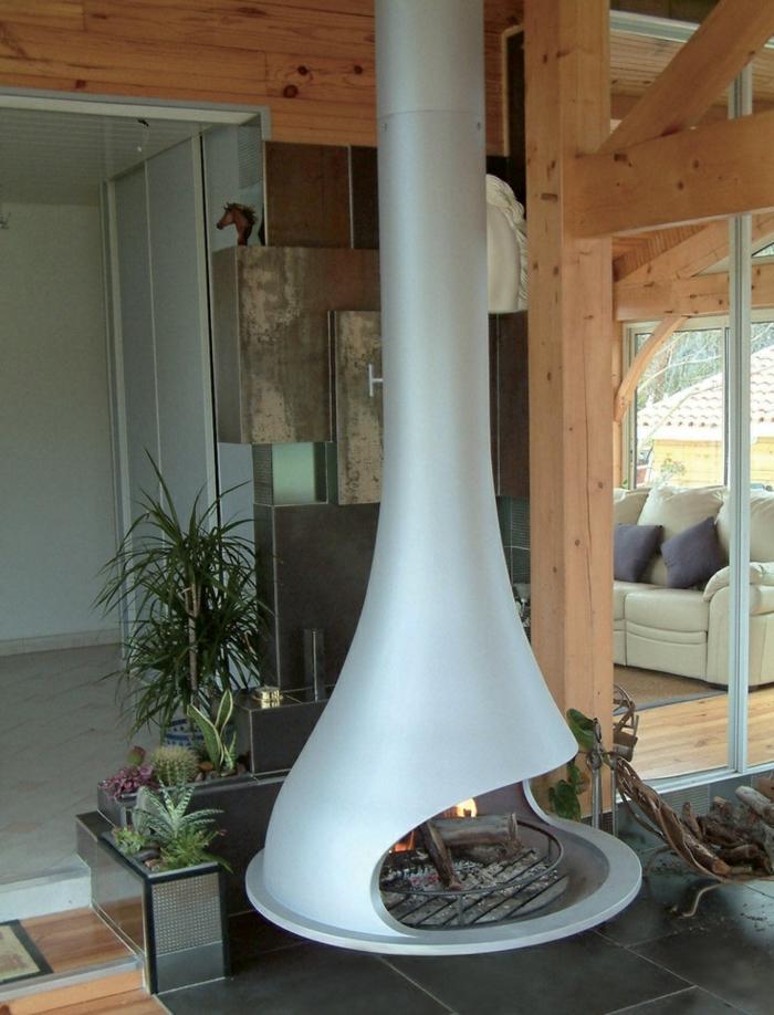 poêle à bois suspendu couleur blanc