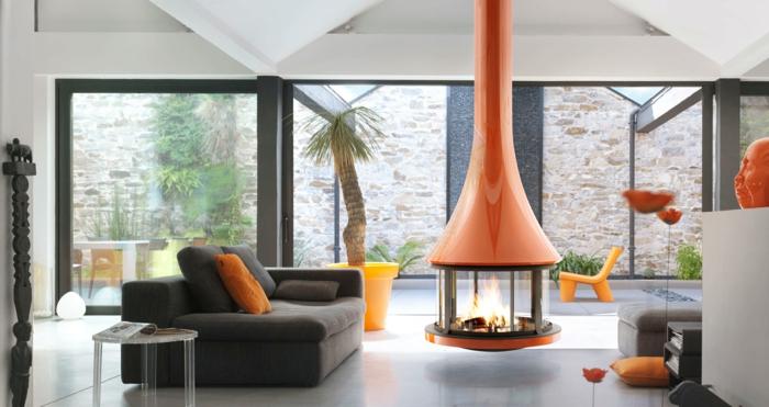 poêle à bois suspendu design moderne