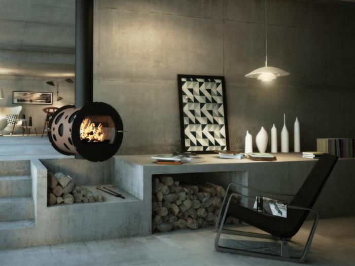 poêle à bois suspendu design ultra moderne