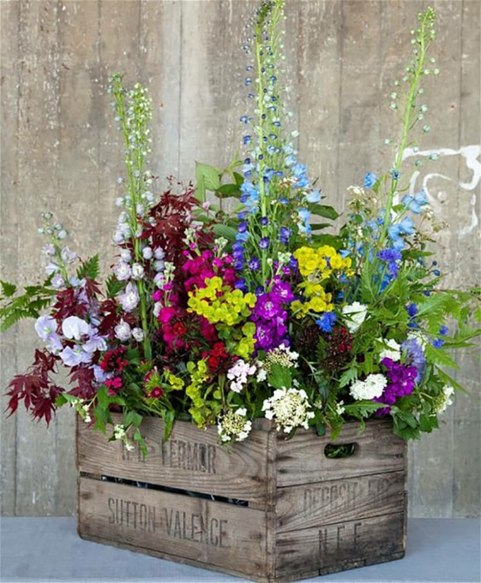 pot de fleurs de caisse de vin