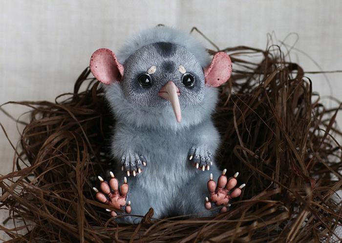 poupée réaliste animal fourrure synthétique