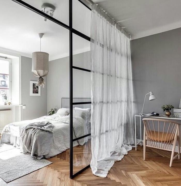 séparateur de pièce rideau chambre à coucher espace de travail