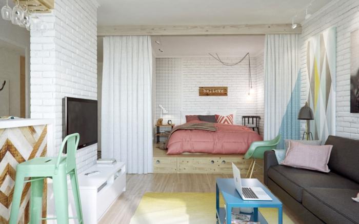 séparateur de pièce salon chambre à coucher rideau