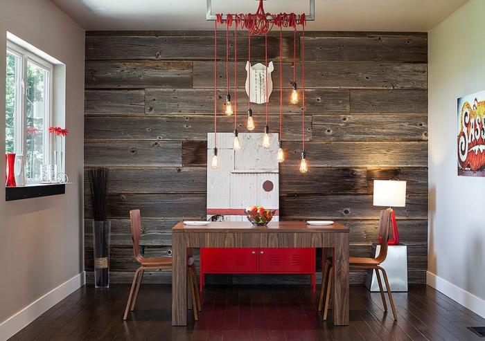 salle à manger industrielle moderne papier peint imitation bois