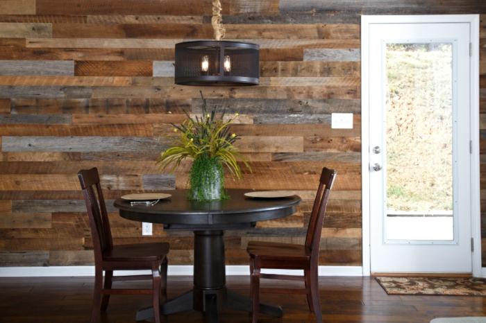 salle à manger papier peint imitation bois