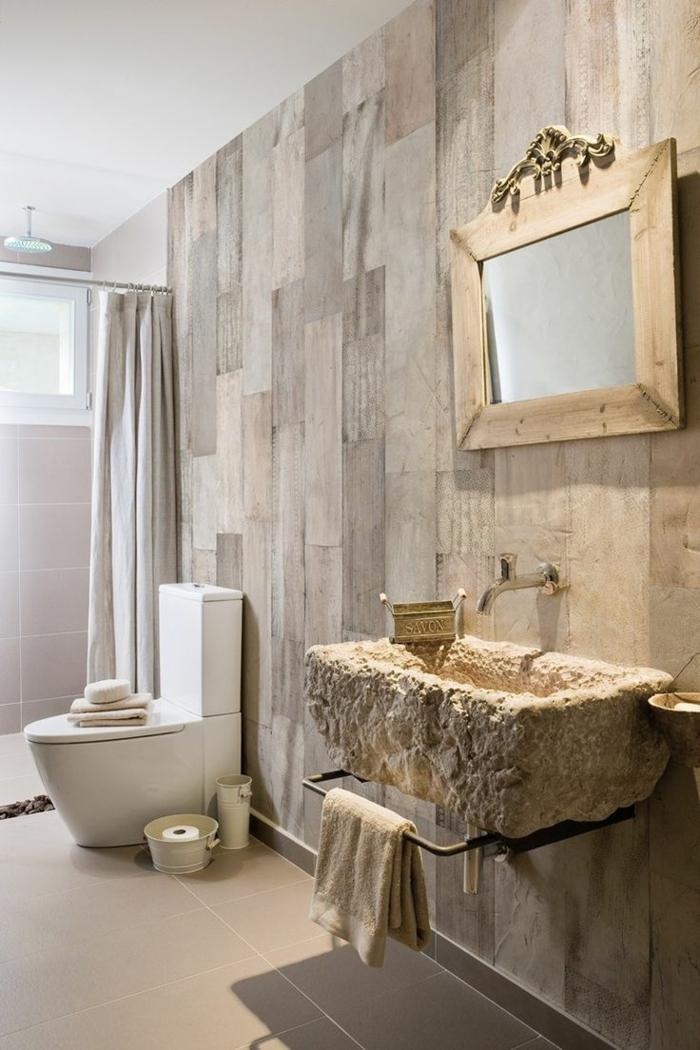 salle de bains papier peint imitation bois