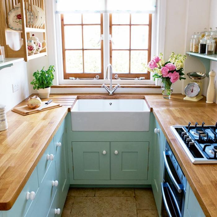 aménagement petite cuisine en vert et blanc