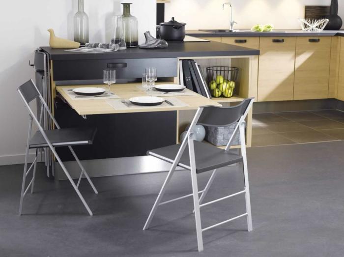 aménagement petite cuisine table escamotable