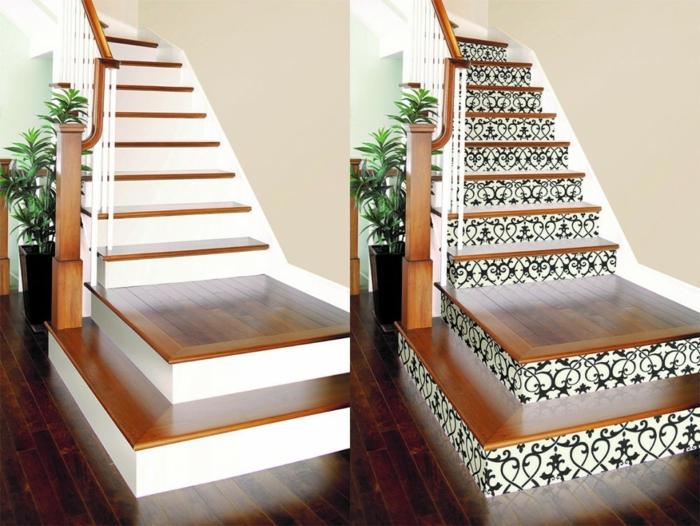 avant après la décoration tendance d'escalier