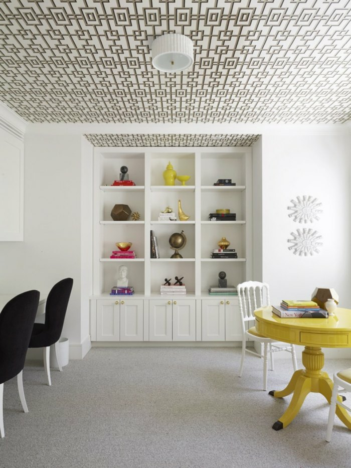 cabinet papier peint plafond