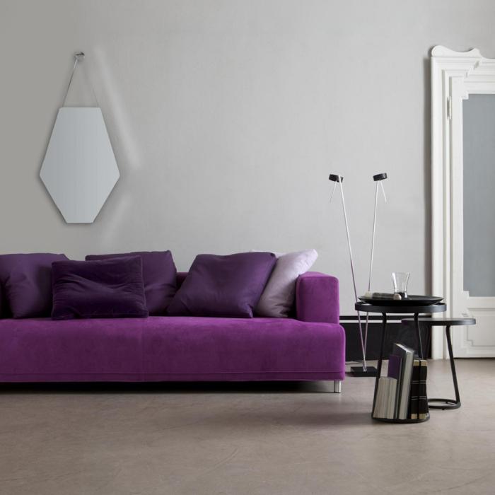 canapé en violet idées déco salon
