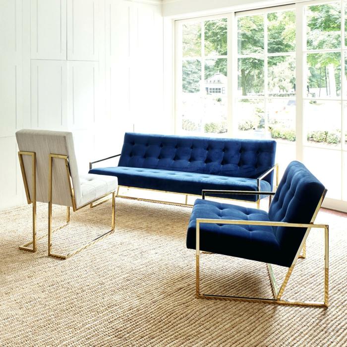canapé velours avec un fauteuil