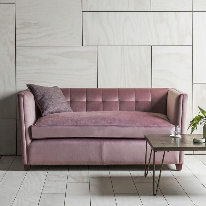 canapé velours couleur rose