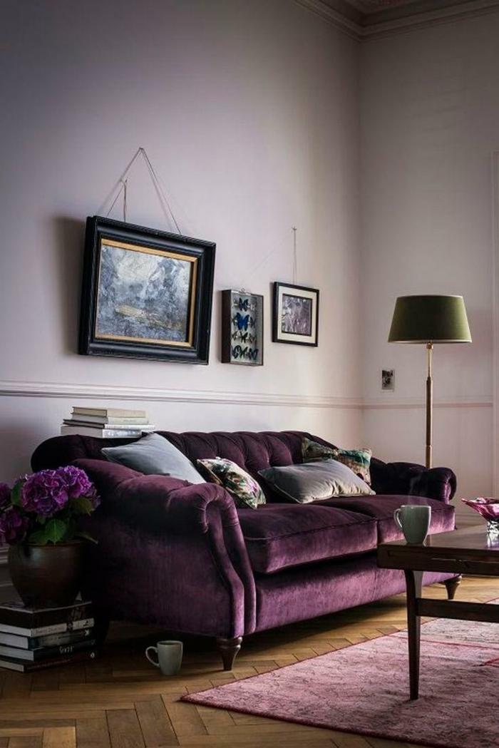 canapé velours couleur violet