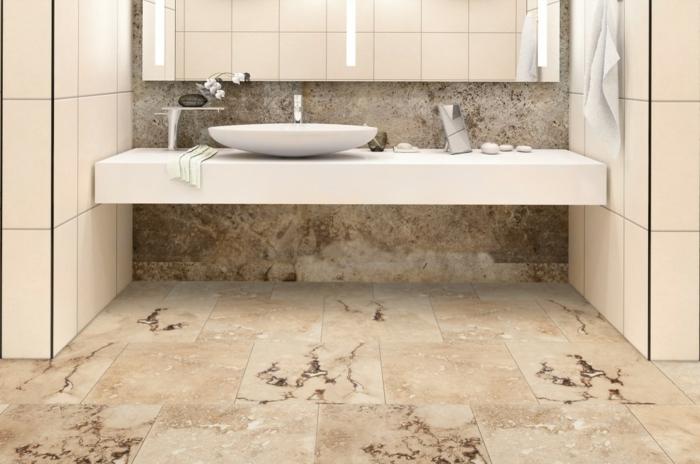 carrelage travertin salle de bains contemporaine