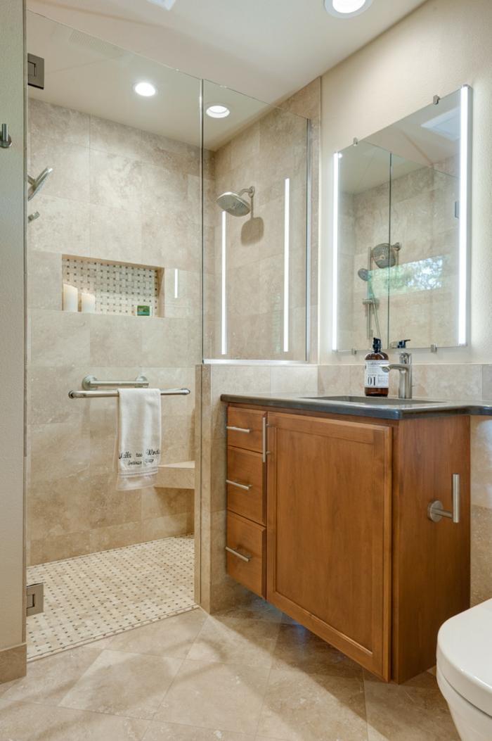carrelage travertin salle de bains