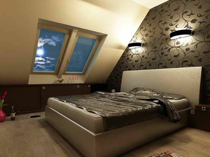 chambre mansardée chaleureuse papier peint